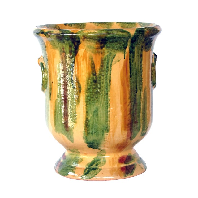 French Anduze Style Dripped-Glazed Pottery Urn For Sale