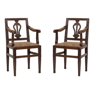 Italian Neoclassic Lyre Arm Chairs For Sale