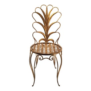French Gilded Steel Chair, 1950s