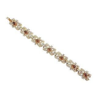 1950s Hattie Carnegie Faux-Topaz Cabochon Bracelet For Sale