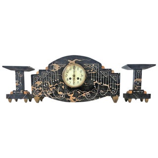 1920s Vintage Art Deco Marble Mantel French Bronze Clock & Garnitures - Set of 3