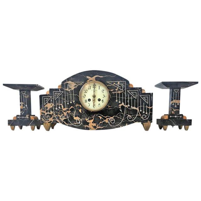 1920s Vintage Art Deco Marble Mantel French Bronze Clock & Garnitures - Set of 3 For Sale
