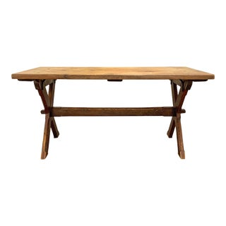 American Trestle Table With X Shape Base For Sale