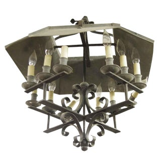 Wrought Iron 12 Light Arts & Crafts Chandelier For Sale