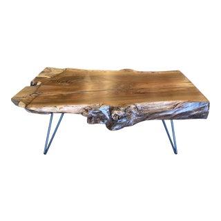 Ambrose Woodworks Custom Walnut Live Edge Coffee Table For Sale