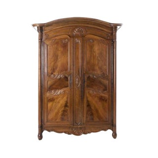 French 19th Century Walnut Armoire C. 1850 For Sale