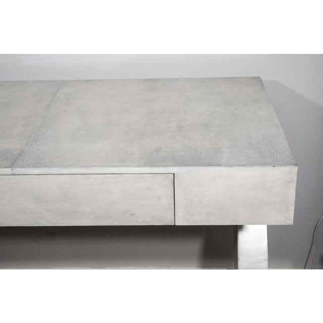 Modern Custom Storm Gray Parchment Z Desk For Sale - Image 3 of 7