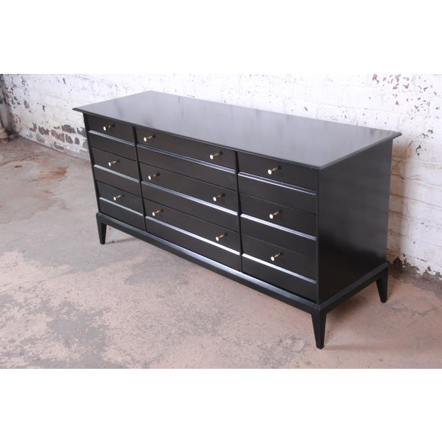 Contemporary Paul McCobb Style Ebonized Triple Dresser or Credenza by Heywood Wakefield For Sale - Image 3 of 13