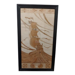 Galleon Dyed Fabric Textile Art, Framed For Sale