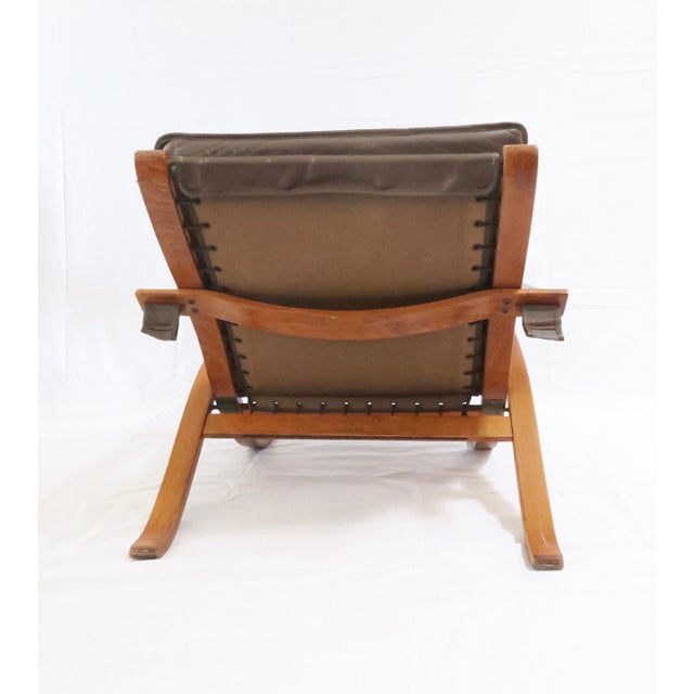 Mid-Century Modern Vintage Westnofa Safari Chair & Ottoman - A Pair For Sale - Image 3 of 9