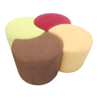 Designer Suede Leather Ottoman- 4 Pieces For Sale