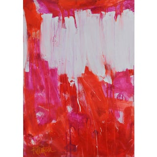 """""""Orange & Multi Pinks"""" Contemporary Abstract Acrylic Painting by Robbie Kemper For Sale"""