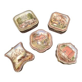Vintage Porcelain De Paris Boxes - Set of 5 For Sale