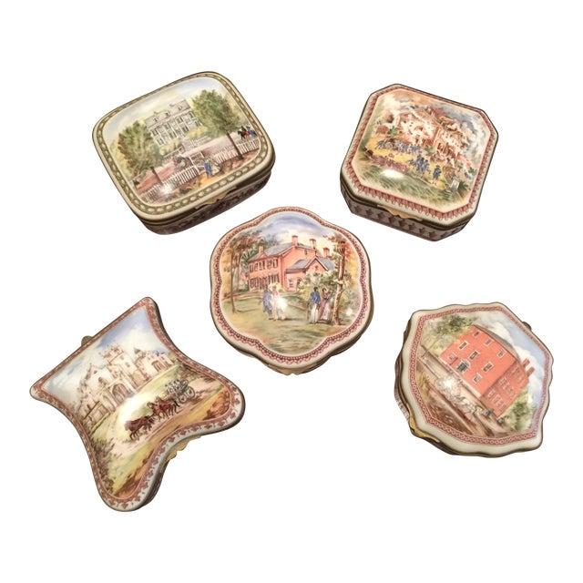 Vintage Porcelain De Paris Boxes - Set of 5 For Sale