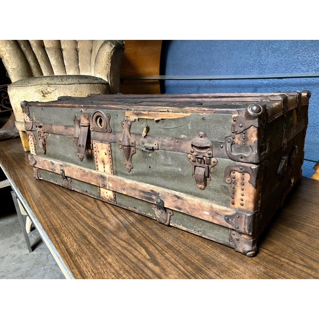Vintage P & S Co. Wood Leather and Metal Trunk For Sale - Image 11 of 11