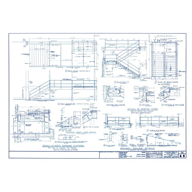Bauhaus Mies Van Der Rohe Blueprint, Crown Hall, Chicago, 1954, North Platform For Sale - Image 3 of 13