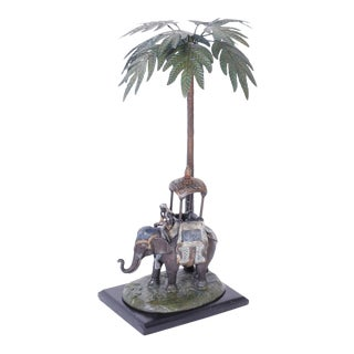 Cold Painted Metal Figure of an Elephant under a Palm Tree For Sale