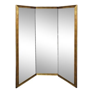 Late 20th Century Very Large Gold Metal Framed Three Way Dressing Mirror For Sale