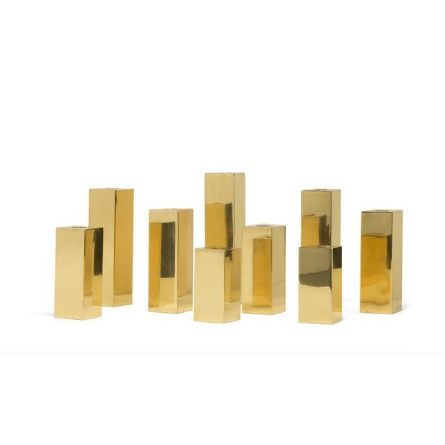 "Milo Baughman Jardins en Fleur ""Cityscape"" Brass Menorah Candlestick Holders , Set of 9 For Sale - Image 4 of 6"