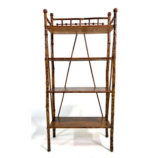 Antique Victorian Scorched Bamboo Etagere Bookcase Stick & Ball Preview
