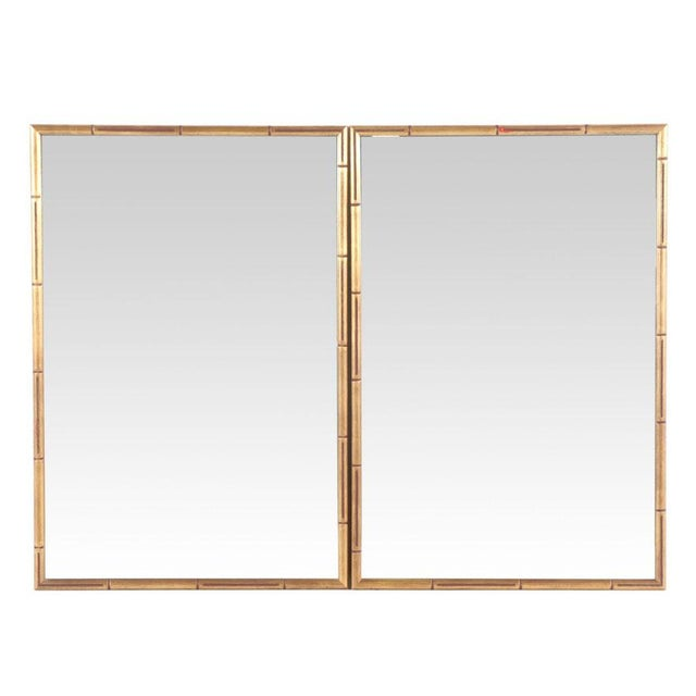 Gold Large Giltwood Faux Bamboo Wall Mirrors - a Pair For Sale - Image 8 of 8
