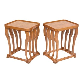 Pair of French Burled Walnut and Fruitwood Tables For Sale