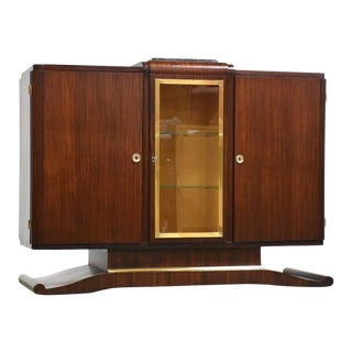 Art Deco Mahogany Any Brass Sideboard Credenza Mid Century Modern For Sale