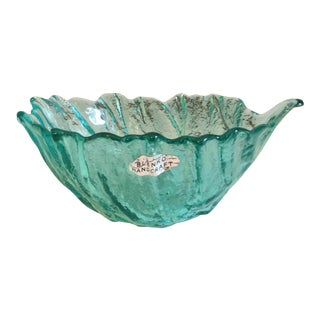 1983 Blenko Small Antique Green Leaf Bowl For Sale