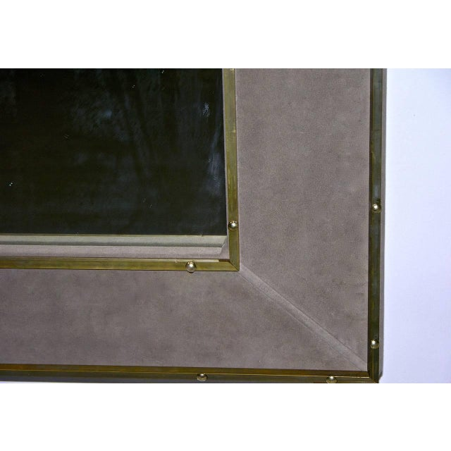 Metal 1970s Italian Suede Leather Floor Mirror With Modern Bronze Accents For Sale - Image 7 of 11