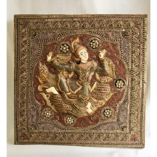 Boho Chic Vintage Burmese Kalaga Dancer Tapestry For Sale - Image 3 of 10