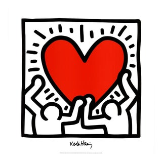1995 Keith Haring 'Untitled (1988)' Pop Art Red,Black & White Italy Offset Lithograph For Sale