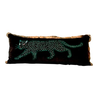 Bolster Pillow With Embroidered Panther For Sale