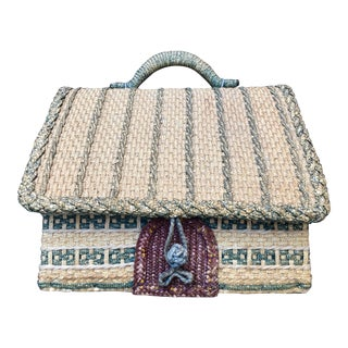 English Woven Cottage Sewing Basket For Sale