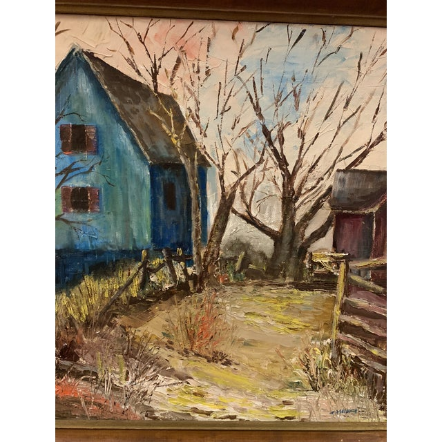 Mid-Century Modern Mid-Century Modern Farm and Barn Original Oil Painting on Board Signed For Sale - Image 3 of 8