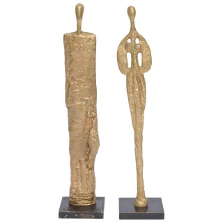 French Giacometti Style Male and Female Heavy Molten Bronze Table Sculptures For Sale