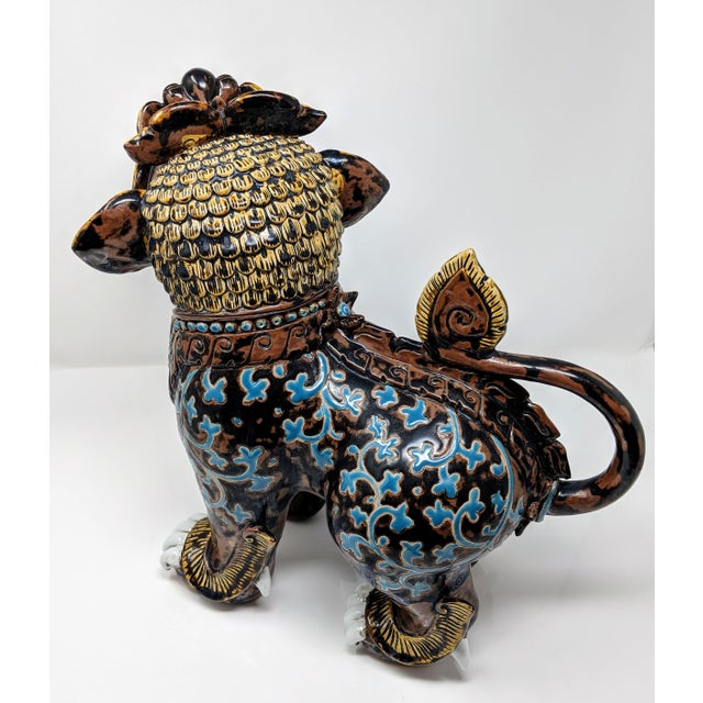 Stone Ceramic Painted Imperial Guardian Lion and Foo Dragon For Sale - Image 7 of 13