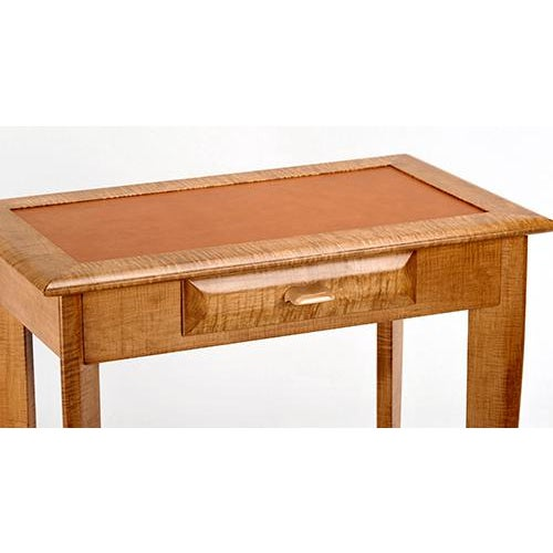 Tiger Maple Leather Top Writing Desk - Image 3 of 4