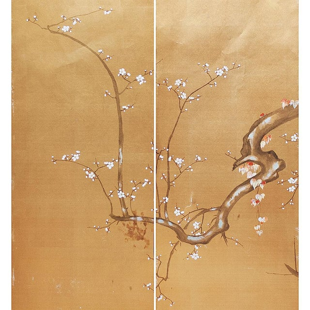 1960s Japanese Large Gold Silk Panels - Set of 2 For Sale - Image 4 of 9