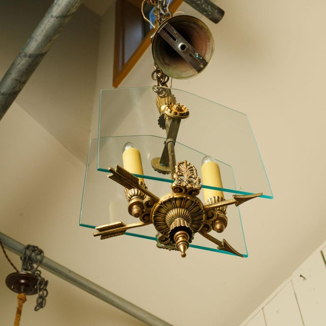 French Classic Brass and Glass Lantern For Sale - Image 11 of 12