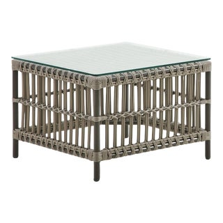 Caroline Exterior Side Table - Glass Top - Moccachino For Sale