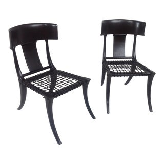 Klismos Style Alder Black Leather Dining Chairs - a Pair