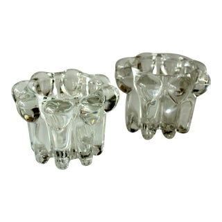 1960s VMC Reims France Crystal Glass Candleholders - a Pair For Sale
