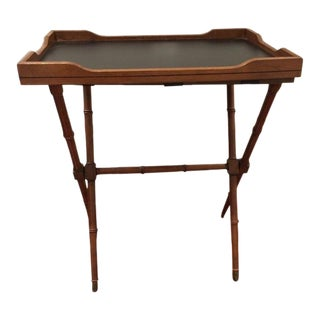 20th Century Hollywood Regency Faux Bamboo Wooden Butlers Tray For Sale