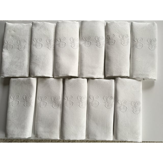Antique French Monogramed Snow White Dinner Napkins Serviettes - Set of 11 For Sale - Image 12 of 12