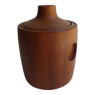 Teak Wood Ice Bucket Designed by Henning Koppel for Georg Jensen C. 1960 For Sale