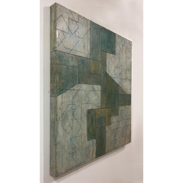 2010s Ancient/Modern Series Abstract Geometric Oil Painting For Sale - Image 5 of 6