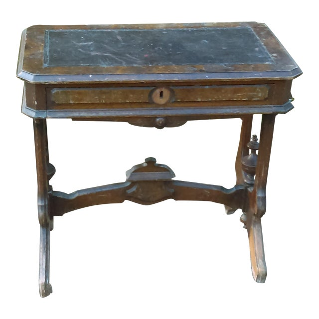 Antique Writing Desk With Stretched Leather Top - Image 1 of 11