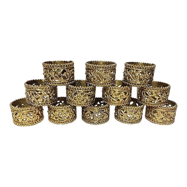 Vintage Brass Floral Filigree Napkin Rings - Set of 12 For Sale