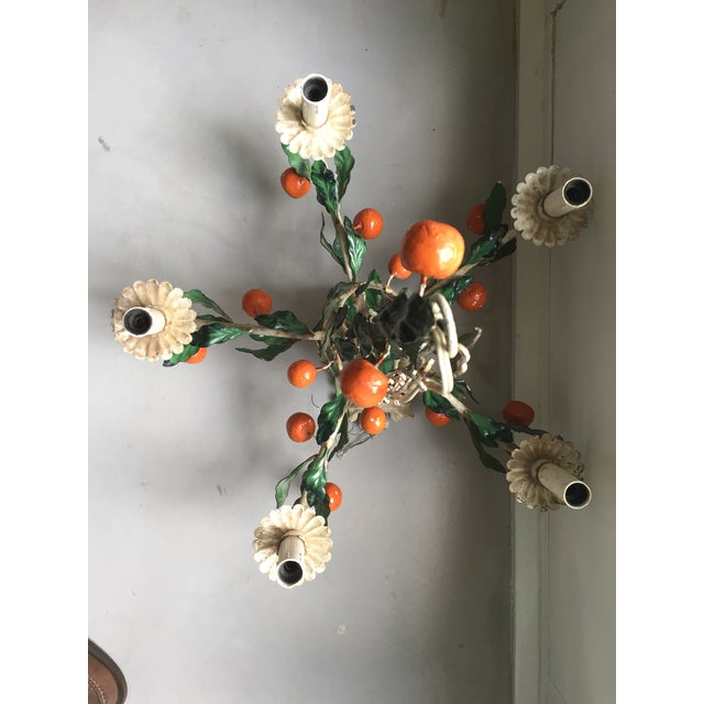 Italian Tole Painted Tangerine 5-Light Chandelier For Sale - Image 9 of 11