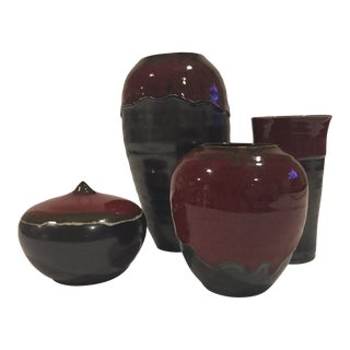 Hand Thrown Pottery - Set of 4 For Sale